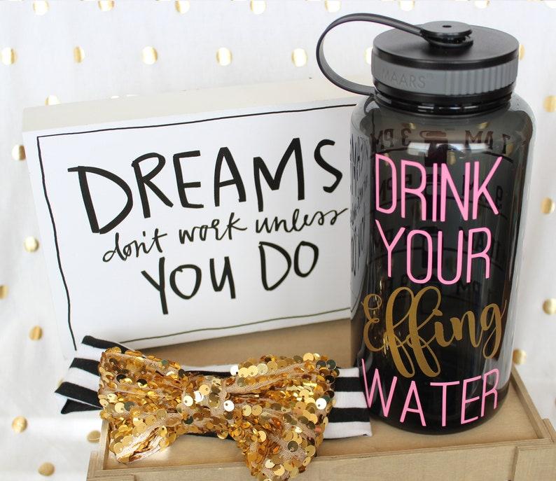 DRINK your EFFING water  tracker water bottle Grey 34oz BPA LtPink/Gold Metallic