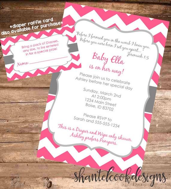 Pink chevron baby shower invitation 4x6 digital file etsy image 0 filmwisefo