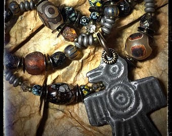 Artisan necklace #25...Thunderbird pendant / tribal necklace / boho / rustic / earthy / beaded necklace