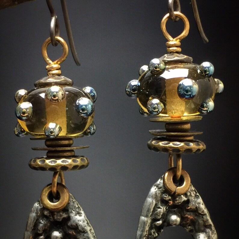 rustic elegance bumps Artisan earrings #75...lampwork glass beads bumps organic oval  hoops bumps