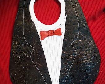 Fused Plastic Tuxedo Bib