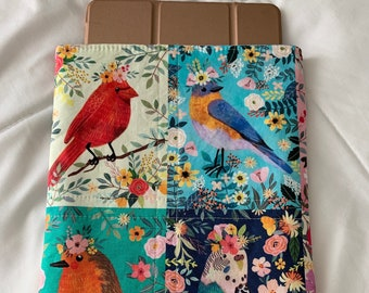 Book pouch in Mia Charro fabric-more floral pets Book sleeve Handmade Paperback sleeve Book protector