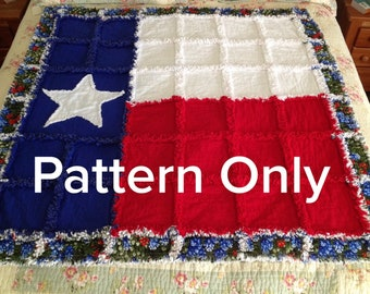 Texas Star with bluebonnets Rag Quilt Pattern