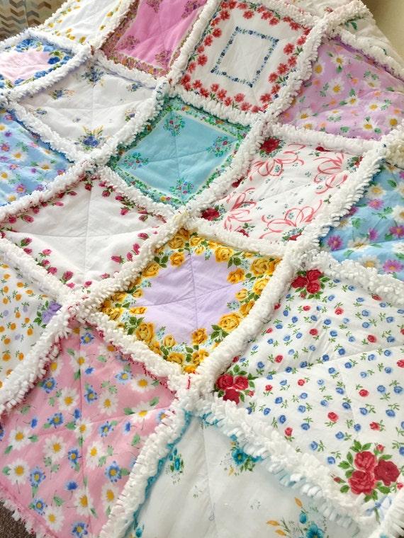 Hanky Quilt Vintage Style New Hanky Handkerchief Rag Quilt Etsy