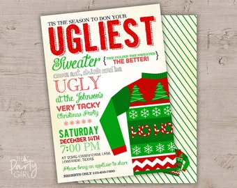 Ugly Sweater Invitation Ugly Sweater Invites Ugly Sweater Etsy