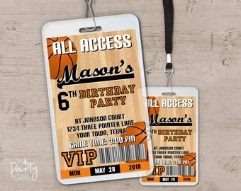 Basketball Birthday Party VIP Pass Style Invitations
