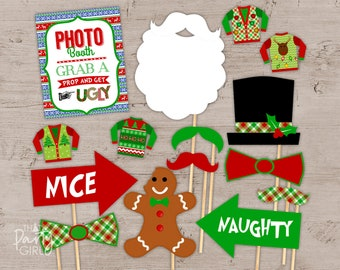 ugly sweater party photo booth props package ugly sweater party ugly sweater party decor ugly sweater party decorations instant download