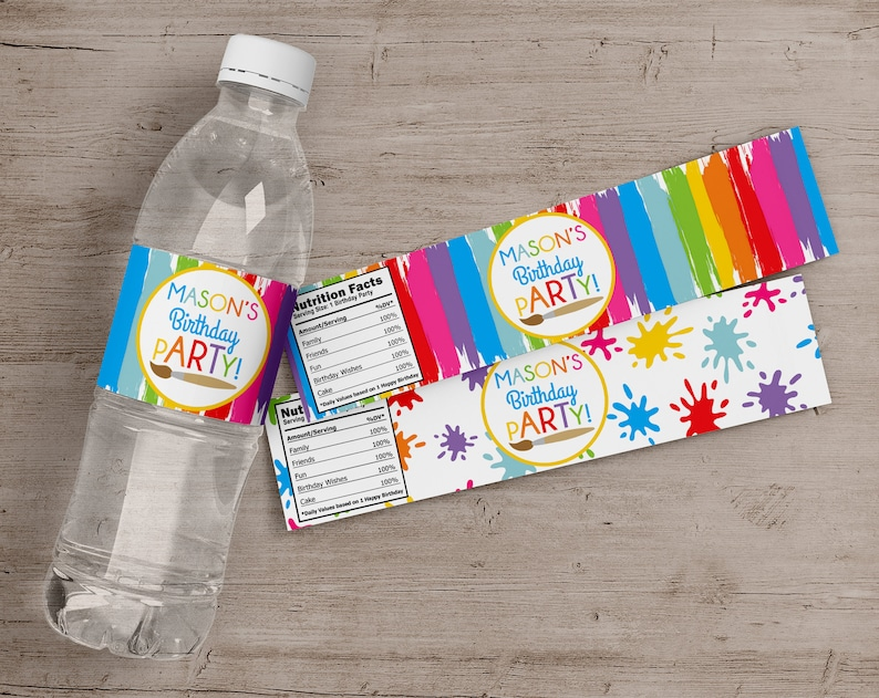Printed Art Party Water Bottle Labels Painting Birthday Party image 0