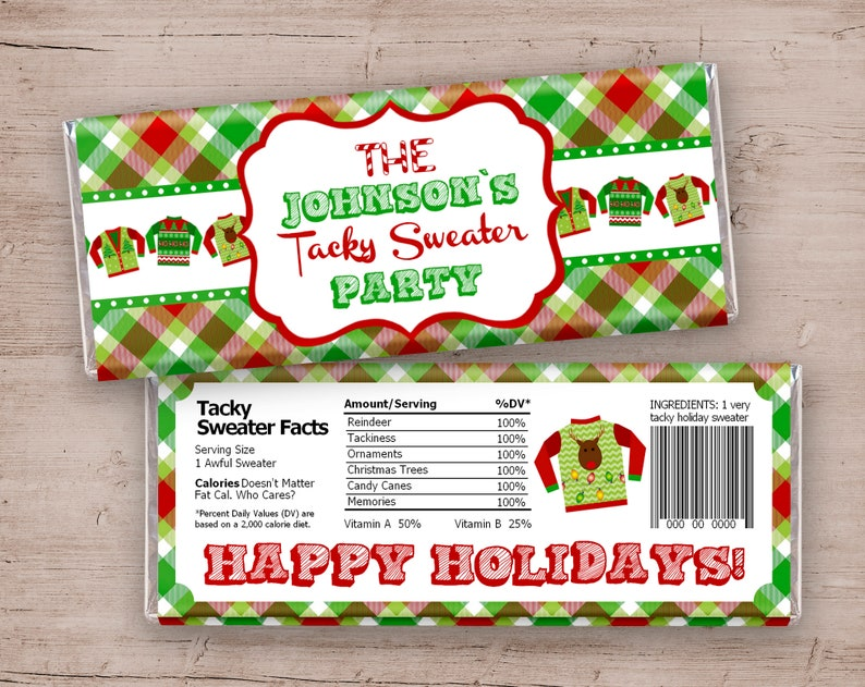 Ugly Sweater Party Ugly Sweater Candy Bar Wrappers Ugly image 0