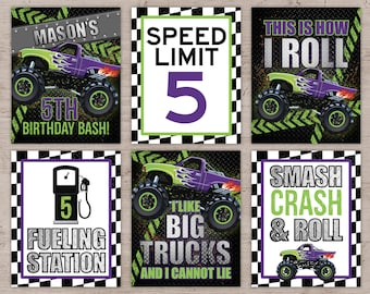 Monster Truck Party Signs, Monster Truck Party Printables, Monster Truck Party Decor, Monster Truck Party Decorations, Birthday Party
