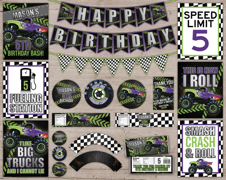 Monster Truck Party Decorations Monster Truck Birthday Party Green & Purple