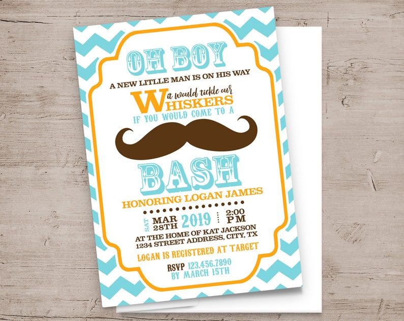 Little Man Party Invitations Baby Shower or Birthday Party image 0