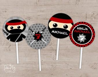Ninja Birthday Party Cupcake Toppers, Ninja Favor Tags, Ninja Party Favors, Ninja Party Decorations, Ninja Birthday Favors, Ninja Birthday