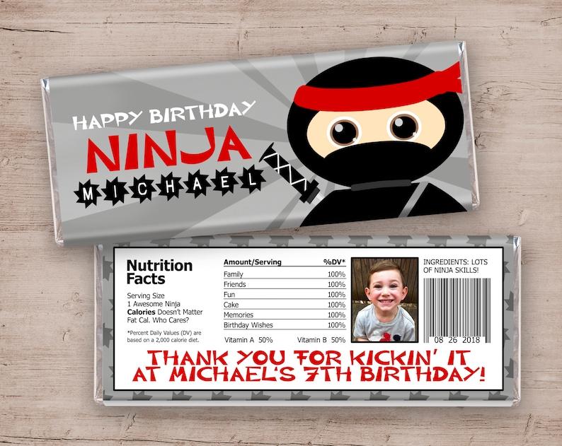 Ninja Candy Bar Wrapper Ninja Party Favors Ninja Thank You image 0