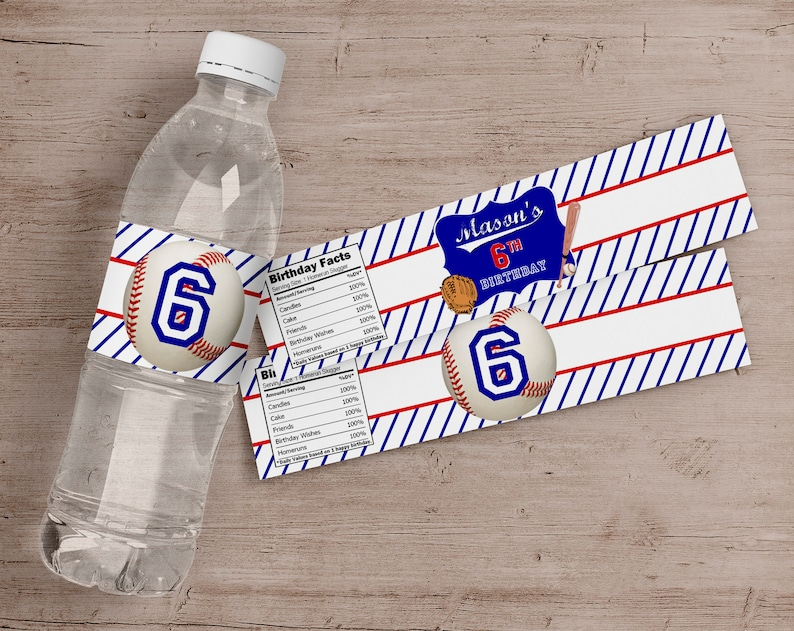 Printed Baseball Water Bottle Labels Sports Birthday Party image 0
