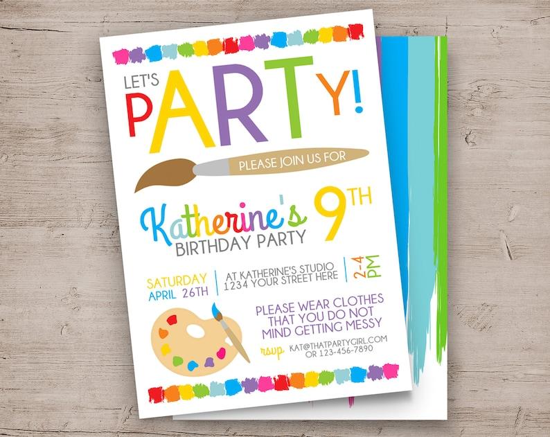 Art Party Invitation Art Birthday Invitation Art Party 24hr RUSH Invite