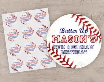 Baseball Party Favor Stickers, Baseball Birthday Party Treat Bag Labels, Sports Party Favor Treat Bag Stickers Labels - Set of 12