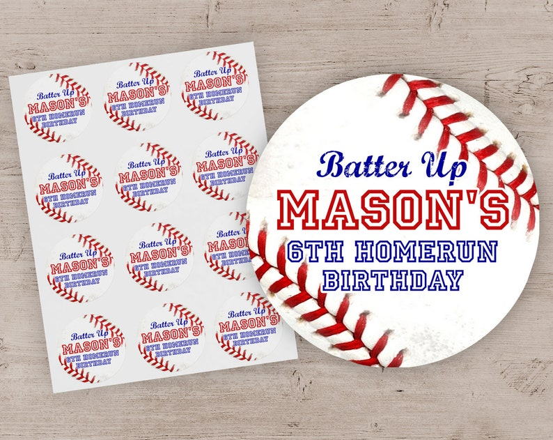 Baseball Party Favor Stickers Baseball Birthday Party Treat image 0