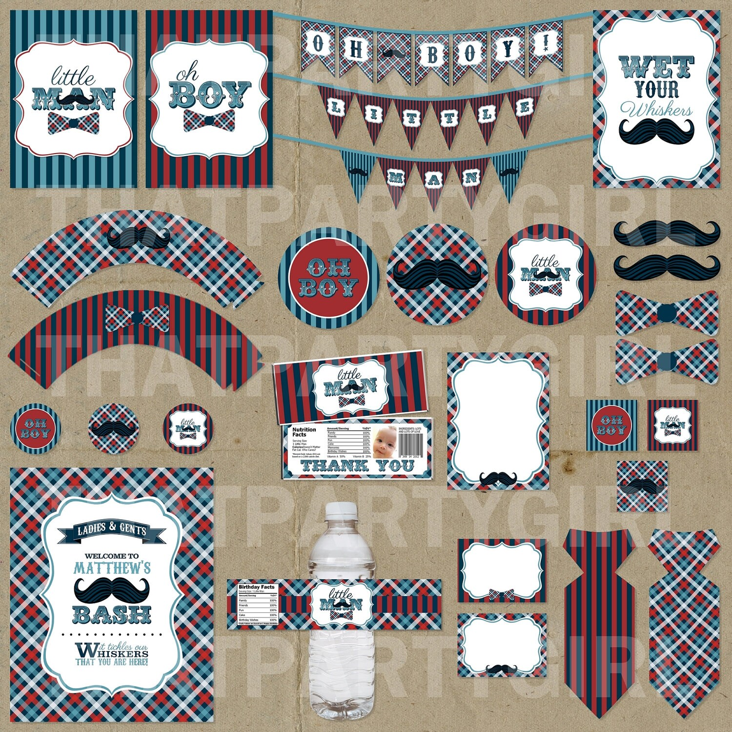 Little Man Birthday Party Package Decorations Favors DIY