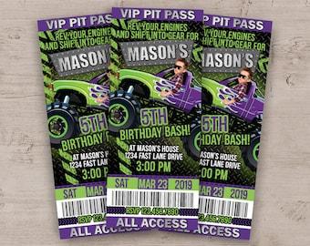 Monster Truck Invitation, Monster Truck Birthday Party Invitations, Monster Truck Party, Printed Pit Pass Ticket Invites