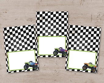 Monster Truck Birthday Party Food Tent Labels, Place Cards, Monster Truck Party Decor, Printable Monster Truck Decorations, DIY
