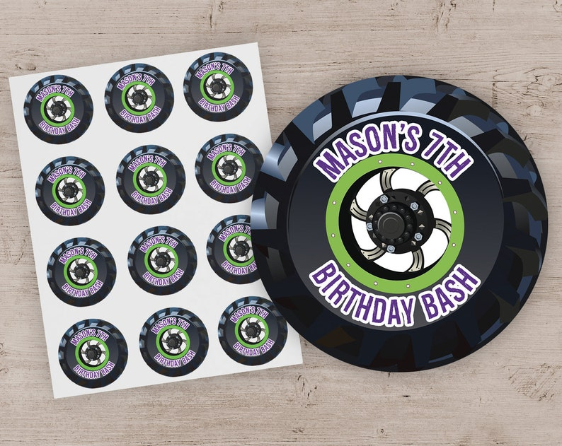 Monster Truck Party Favor Stickers Monster Truck Birthday Purple