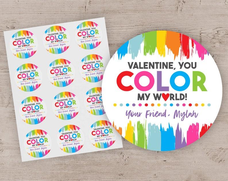 Valentine Stickers Kids Valentine's Day Color Your World image 0