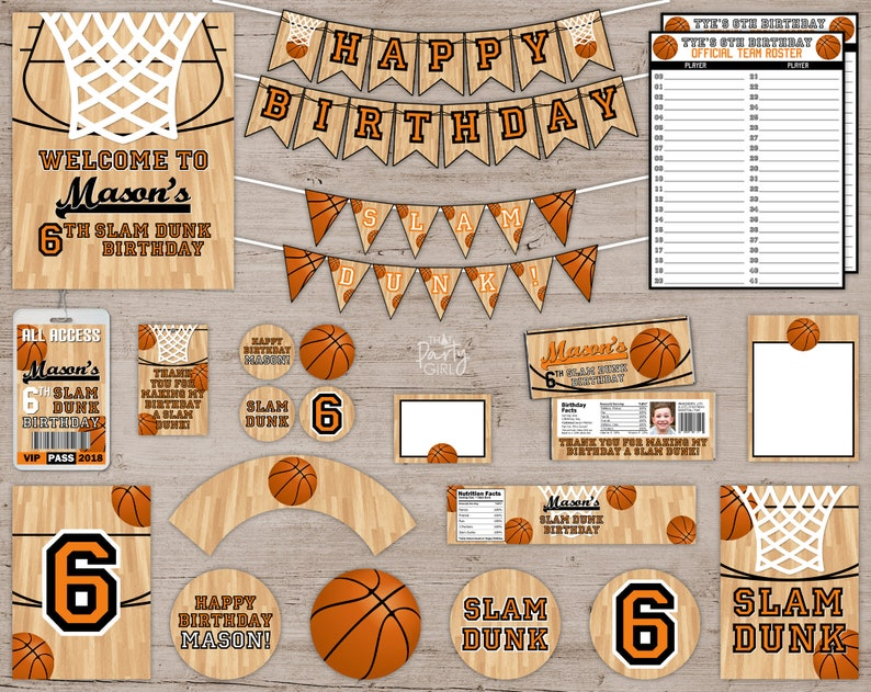 Basketball Birthday Party Package Favors Banners Decorations  image 0