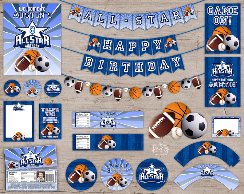 ALLSTAR Party  Package  All Star Birthday Decorations Favors image 0