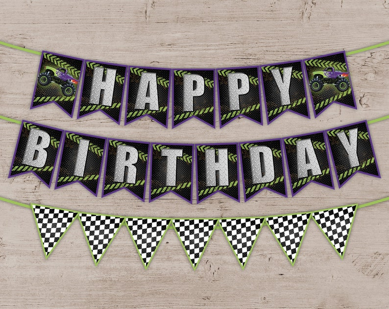 Monster Truck Party Banner Birthday Party Decorations image 0