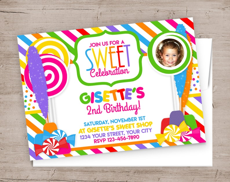 Candy Shop Birthday Party Invitations Girl Birthday Party image 0