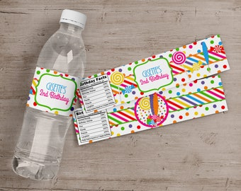 Printed Candy Shop Party Water Bottle Labels, Candy Shop Birthday Party Water Bottle Labels, Candy Shop Birthday Party Favors