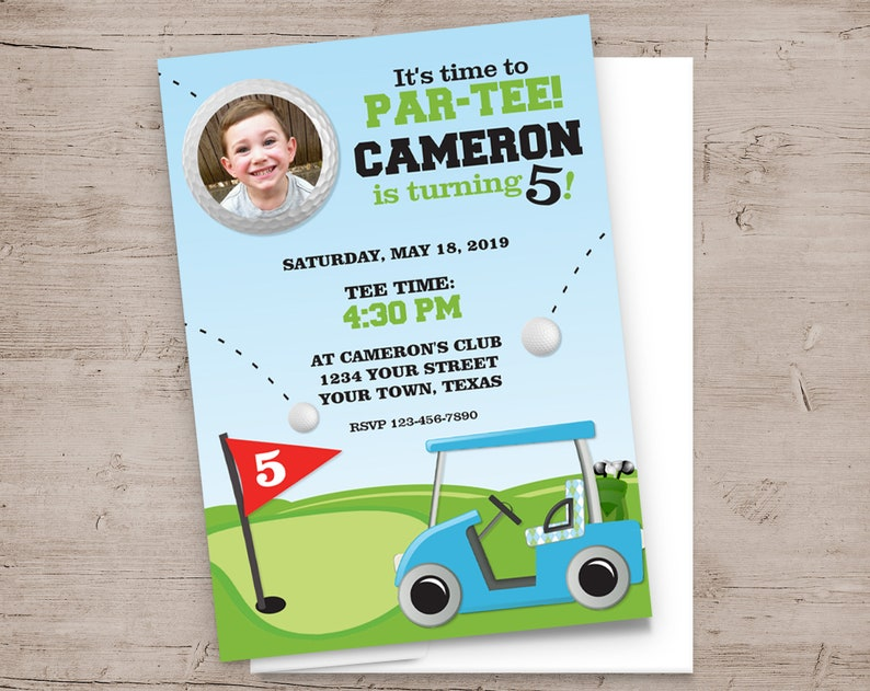 Golf Birthday Party Invitations Hole in One PAR-TEE image 0