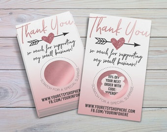 Scratch Off Thank You Cards, Small Business Thank Yous, Customer Thank You Cards, Scratch Off Game Cards, Business Scratch Offs, Rose Gold