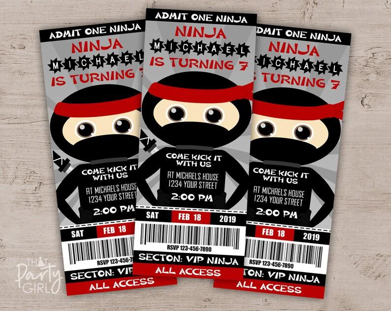 Ninja Party Invitation Birthday Invitations Invites Invite Decorations