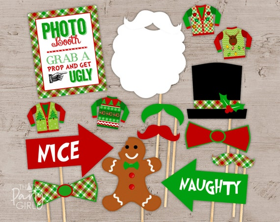 Ugly Sweater Party Photo Booth Props Package Ugly Sweater Etsy