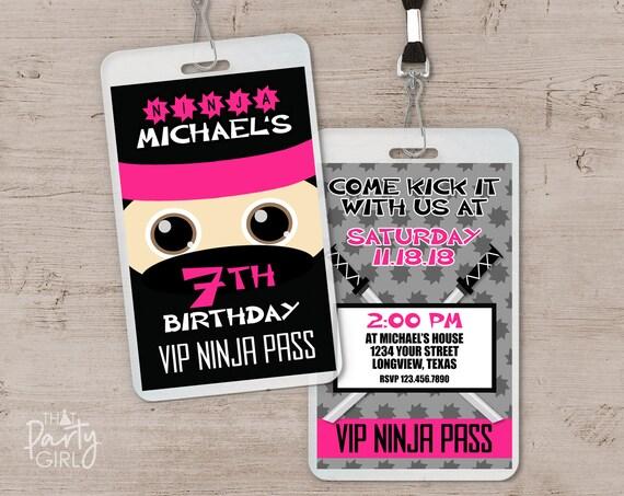 Ninja Birthday Invitation Party Invitations Invite