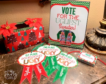 Ugly Sweater Party Awards, Ugly Sweater Party, Ugly Sweater Party Voting Ballots, Ugly Sweater Decor, Ugly Sweater Party Favors, DIY