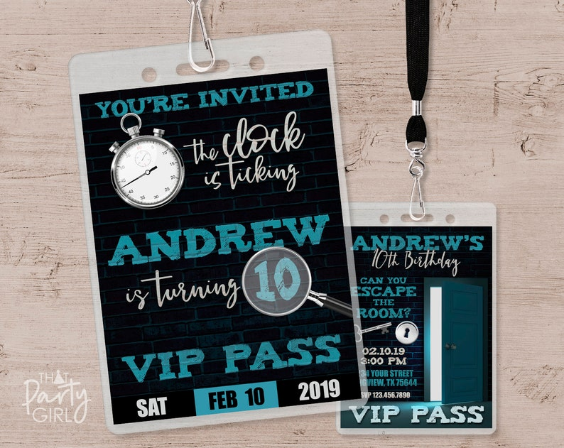 Escape Room Party Invitation Vip Pass Birthday Invitations Etsy