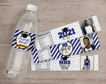 Graduation Party Water Bottle Labels, Graduation Party Decorations, High School or College Graduate, Graduation Stickers, Printed Drink