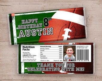 12 Football Birthday Party Candy Bar Wrappers