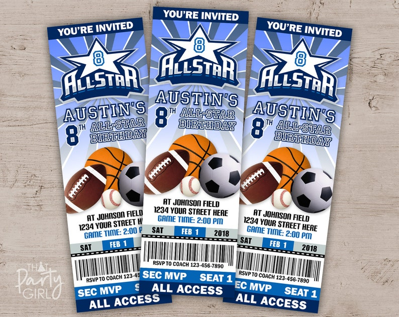 12 ALLSTAR Birthday Party Ticket Style Invitations image 0