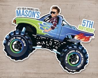 Monster Truck Birthday Invitation, Monster Truck Invitations, Monster Truck Birthday Party, Personalized Monster Truck Invites
