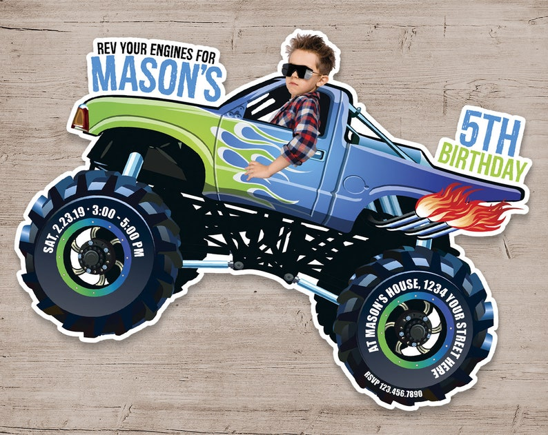 Monster Truck Birthday Invitation Monster Truck Invitations Green & Blue