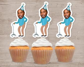 Photo Cupcake Toppers, 30th 40th 50th 60th Birthday, Cupcake Topper, Picture Cupcake Picks, Funny Birthday Decorations, Birthday Decor