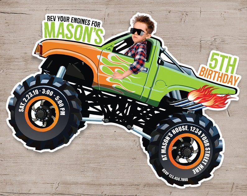 Monster Truck Birthday Invitation Monster Truck Invitations Orange & Green