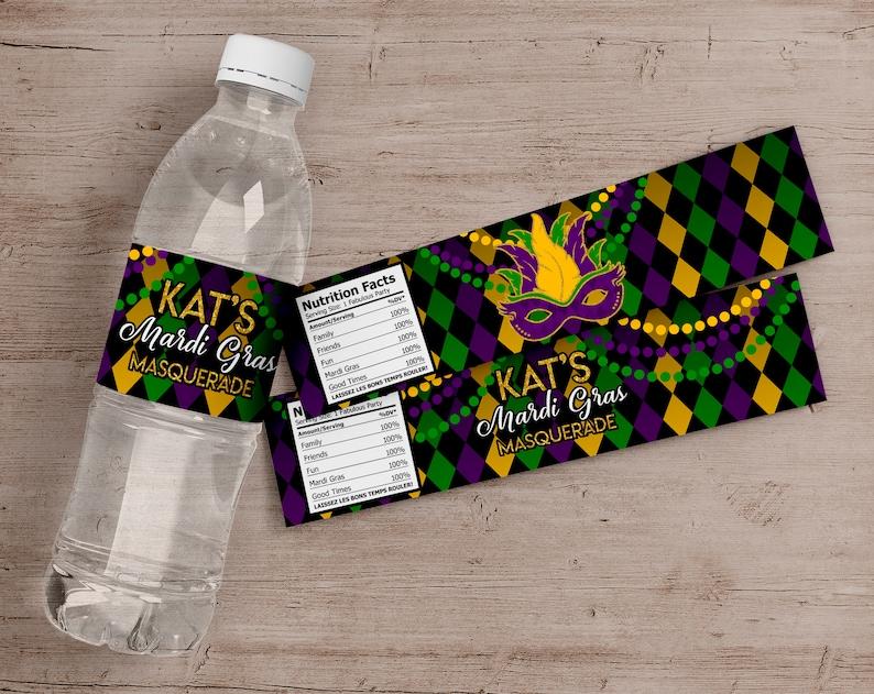 Printed Mardi Gras Water Bottle Labels Mardi Gras Birthday image 0