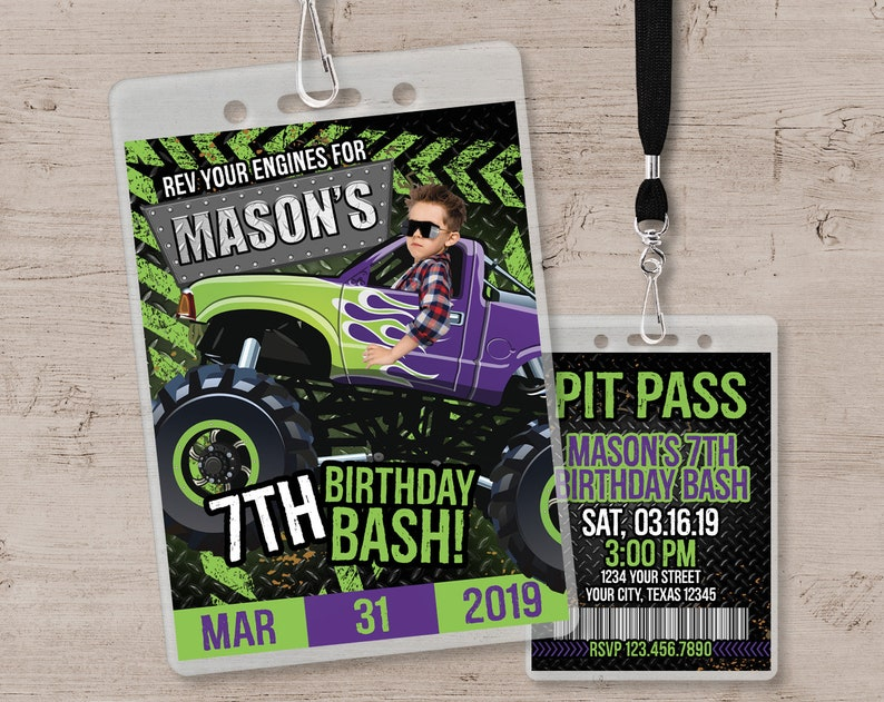 Monster Truck Invitation Monster Truck Birthday Party Green & Purple