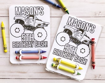 Monster Truck Coloring Card Party Favor, Monster Truck Birthday Party, Monster Truck Party Favors, Coloring Sheet, Personalized Party Favor