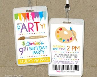 Art Party Invitation, Art Birthday Invitation, Art Party Invite, Paint Party Invite, Paint Party Invitations, Paint Birthday, Art Birthday